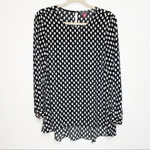 Vince Camuto Black & White Dot Tunic Blouse
